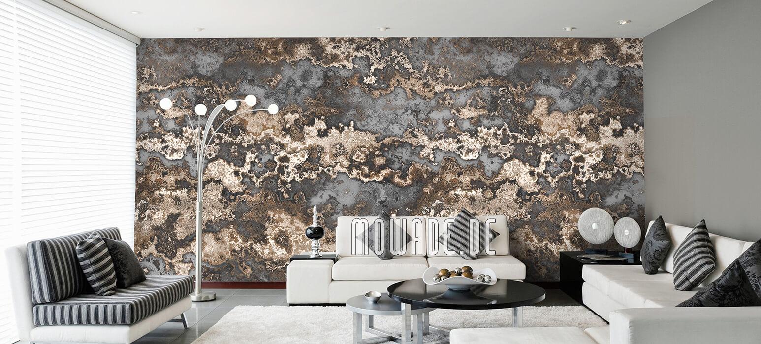 tapete grau braun erd-stein-struktur lounge wohnzimmer-bild