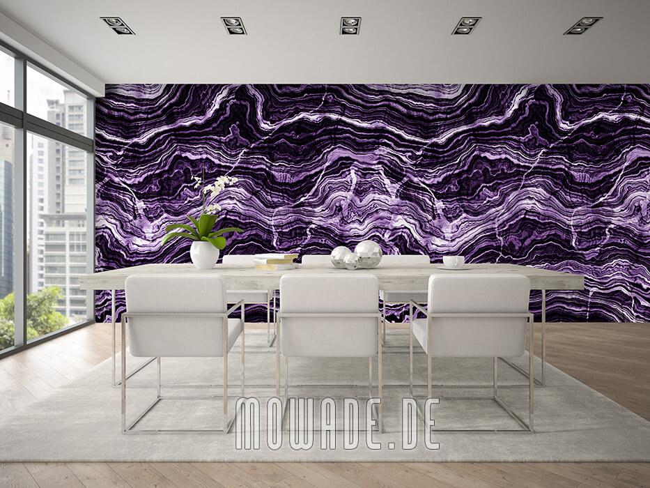 tapete steinoptik violett wohnzimmer gesteinsschichten