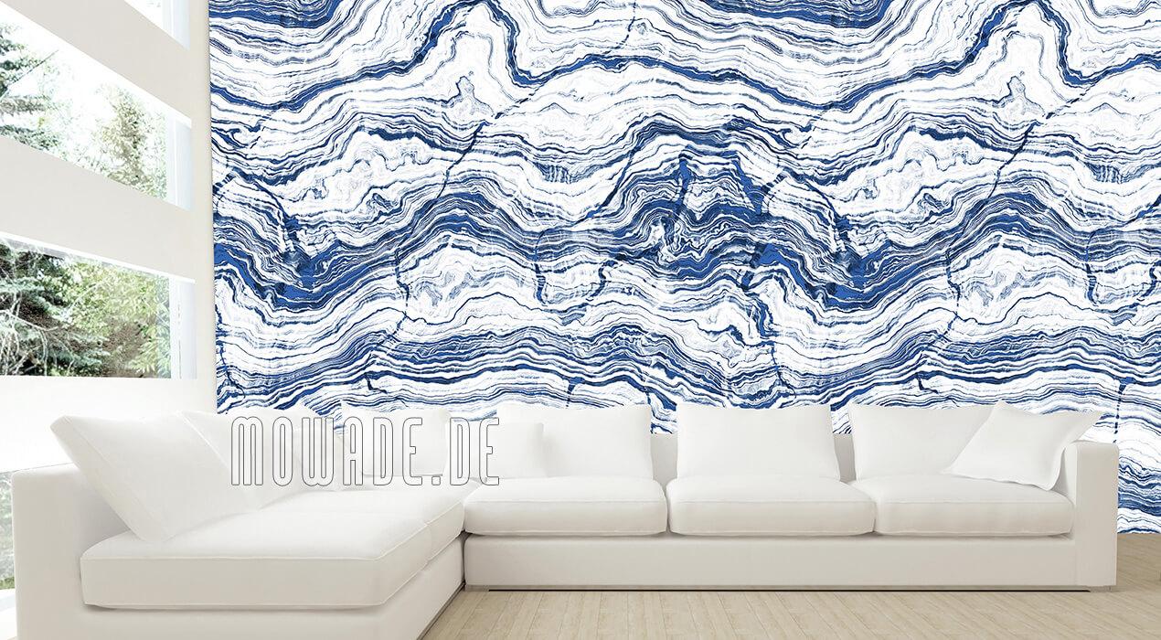 tapete steinoptik weiss blau wohnzimmer gesteinsschichten