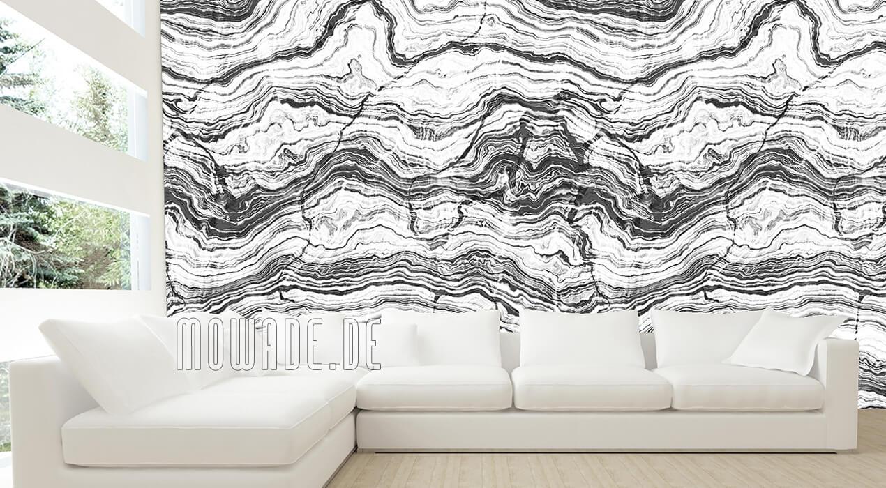 tapete steinoptik weiss grau wohnzimmer gesteinsschichten