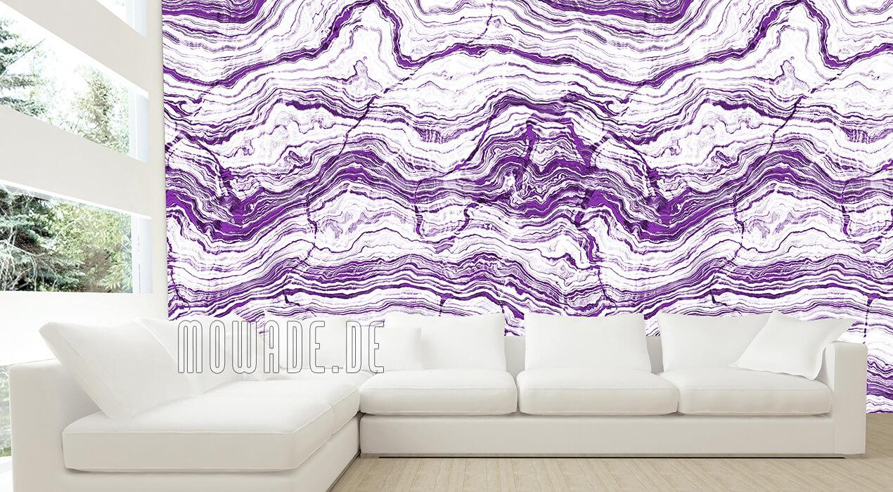 tapete steinoptik weiss lila wohnzimmer gesteinsschichten