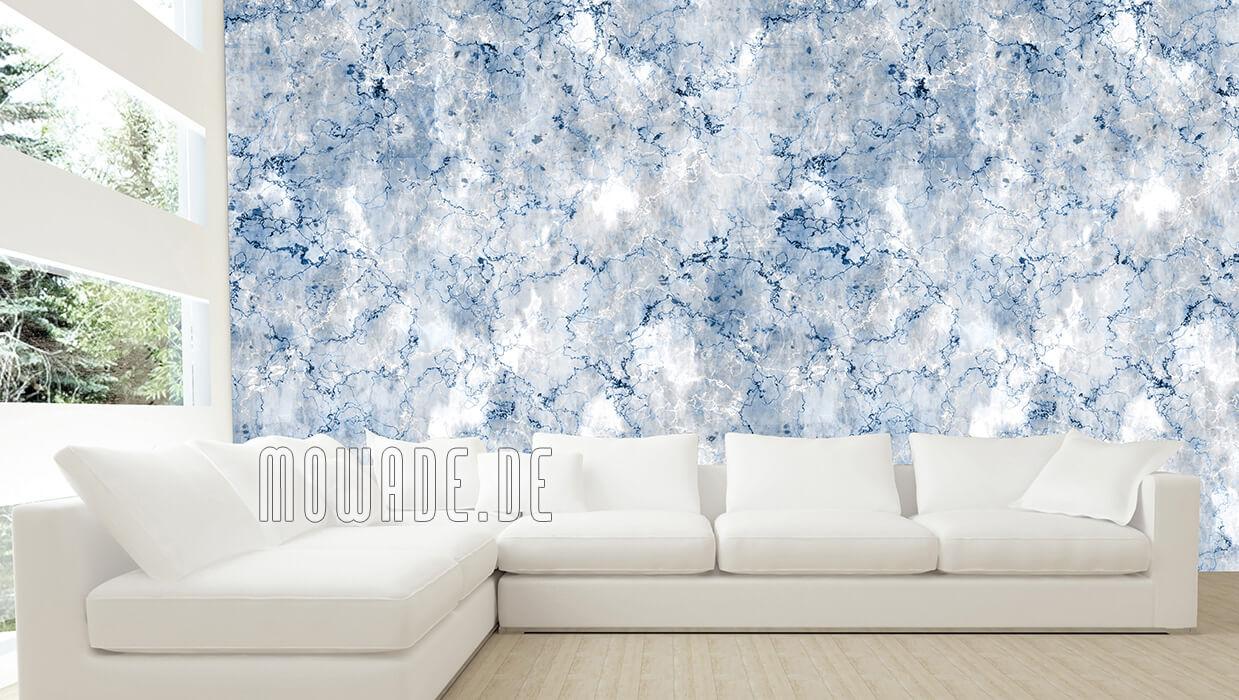 vliestapete steinoptik blau grau vintage shabby wohnzimmer