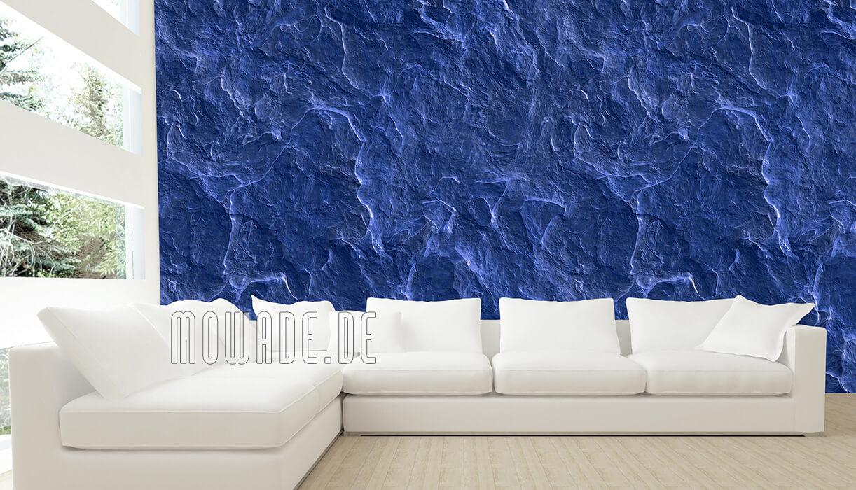 vliestapete steinoptik schiefer blau wohnzimmer