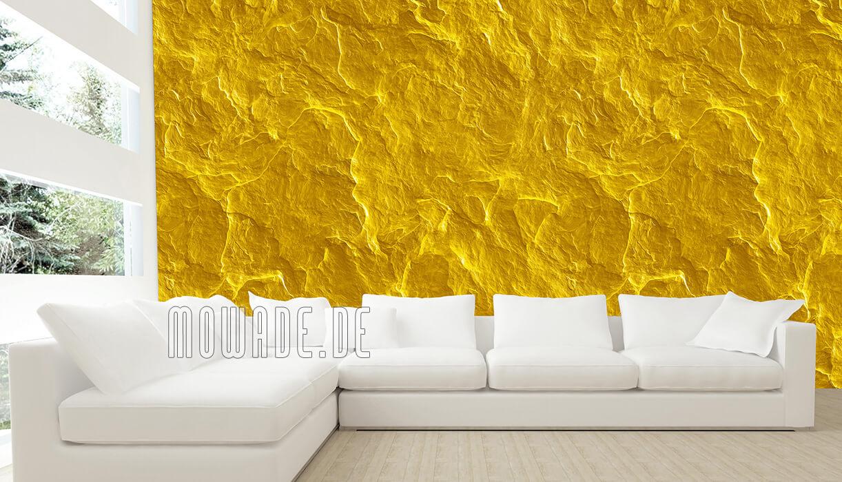 vliestapete steinoptik schiefer gelb wohnzimmer