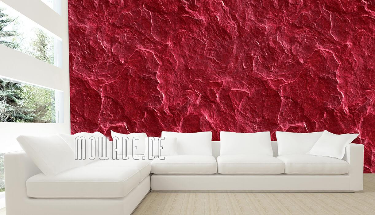 vliestapete steinoptik schiefer rot wohnzimmer