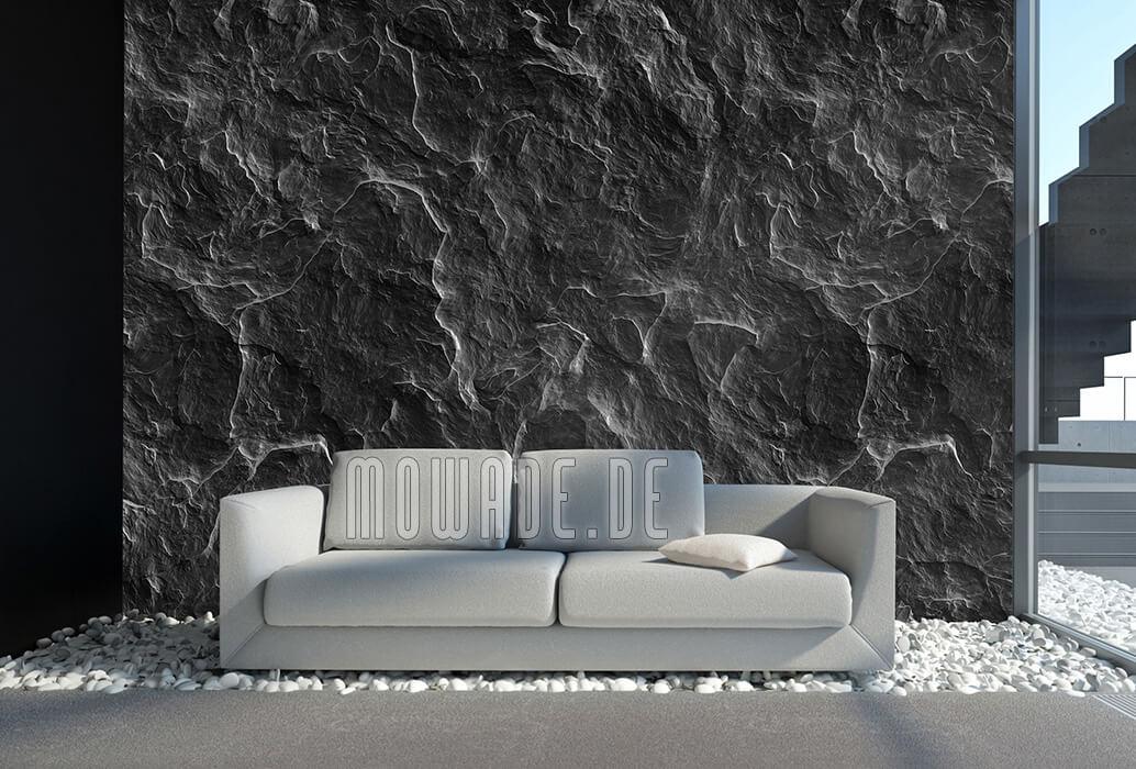 vliestapete steinoptik schiefer schwarz wohnzimmer