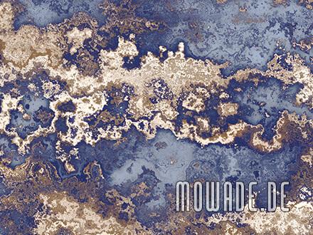 wanddesign erd-stein-struktur blau braun antik-optik tapete