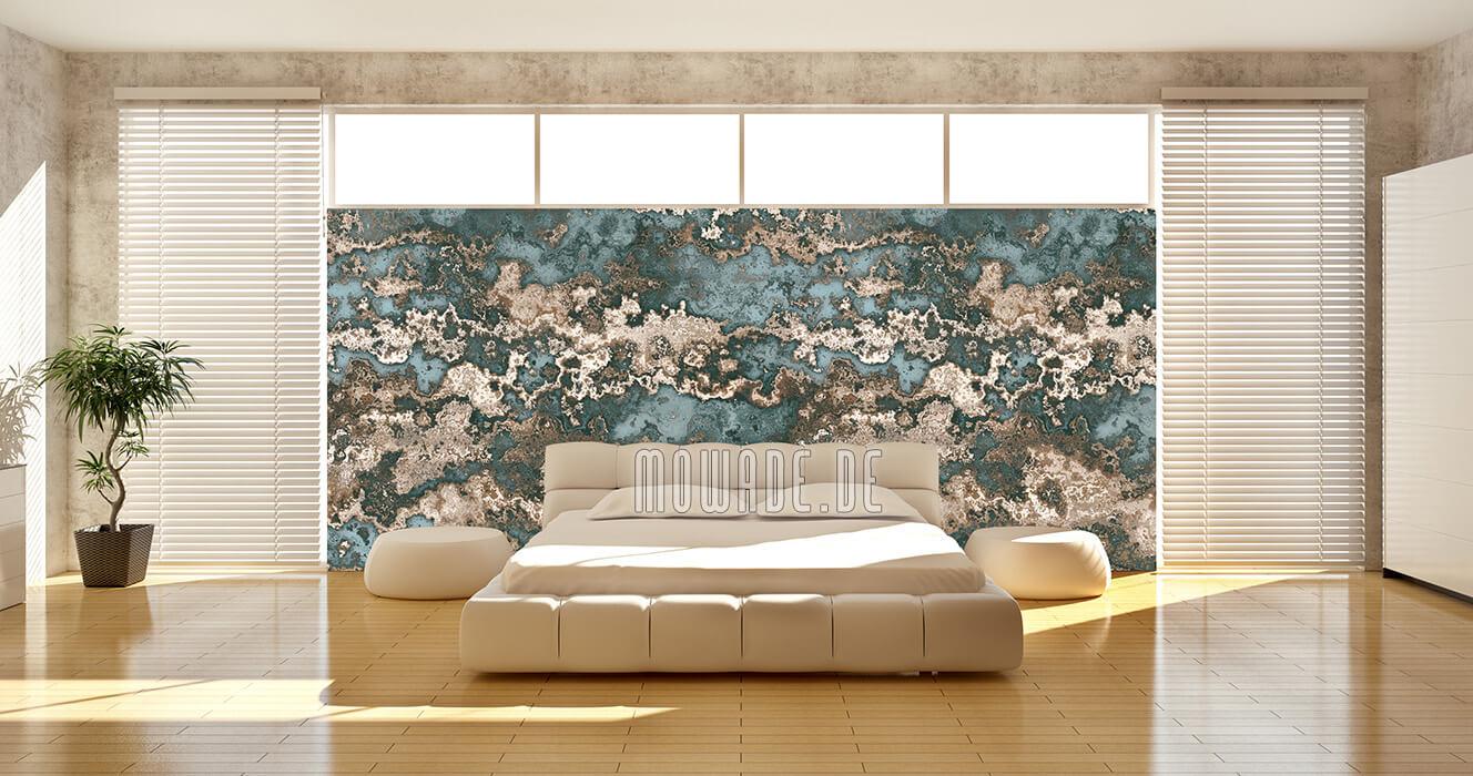 wandgestaltung wohnzimmer hotel gruen braun erd-stein-struktur-tapete